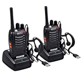 eSynic Rechargeable Walkie Talkies with Earpieces 2pcs Long Range Two-Way Radios 16 Channel