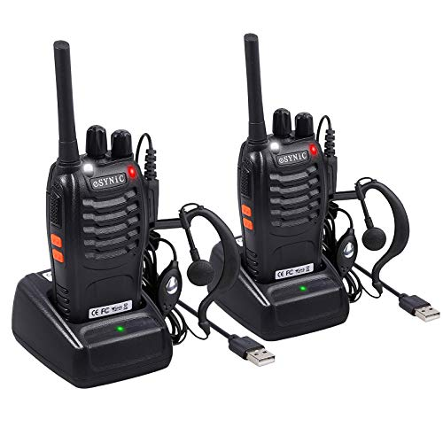 eSynic Rechargeable Walkie Talkies with Earpieces 2pcs Long Range Two-Way Radios 16 Channel UHF USB Cable Charging Walky Talky Handheld Transceiver with Flashlight ()