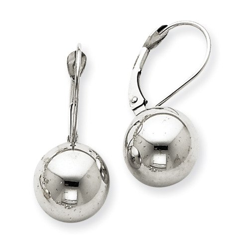 Amythyst Medium Silver Tone Stainless Steel Leverback Ball Earrings (10mm)
