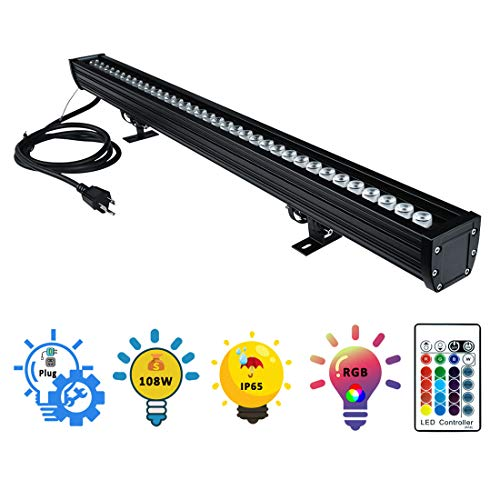 Wall Washer LED Lights, 108W RGBW Color Changing LED Strip Lights with RF Remote,120V, 3.2ft/40''Linear RGB LED Lights Bar for Outdoor/Indoor Lighting Projects Carnival Party Stage Casinos Bar Decor by YRXC (Image #10)