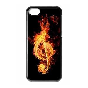 Vinceryshop Music IPhone 5C Case Fire Music Notation Design for Men, Case for Iphone 5c for Boys Design for Men [Black]