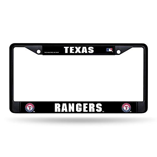 (Texas Rangers MLB Black Chrome (Metal) License Plate Frame)
