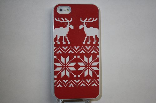 (508wi4) Christmas Moose Pattern Apple iPhone 4 / 4S White Case
