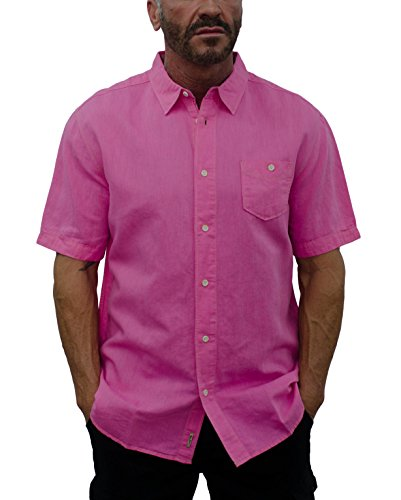 Short Fin Men's Short Sleeve Linen Shirt with Contrast Stitches (3X Large, Magenta Red (Beach Red Stitch)