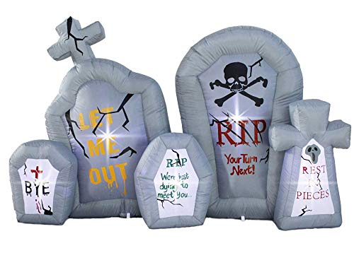 SEASONBLOW 6.6 Ft Inflatable Halloween Gravestone Inflatables Tombstone