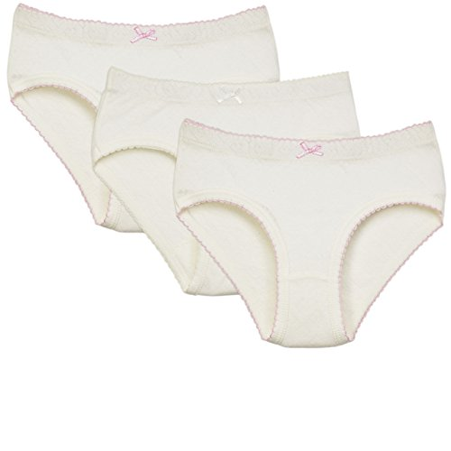 Amoureux Bebe Briefs Panties for Toddlers & Girls- Extra Soft Turkish Cotton Underwear- White Background with Heart Imprints & Pink Trimming, Size 2-3 (3 Pack)