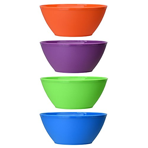Fresco 6-inch Plastic Cereal/Soup Bowls   set of 8 in 4 Classic Colors by US Acrylic (Image #1)