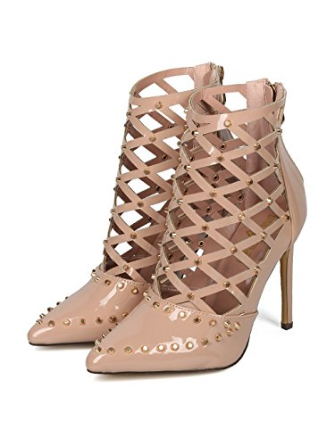 Alrisco Women Studded Pointy Toe Caged Cut Out Stiletto Bootie Pump HF45 - Nude Patent (Size: 6.0) by Alrisco (Image #4)