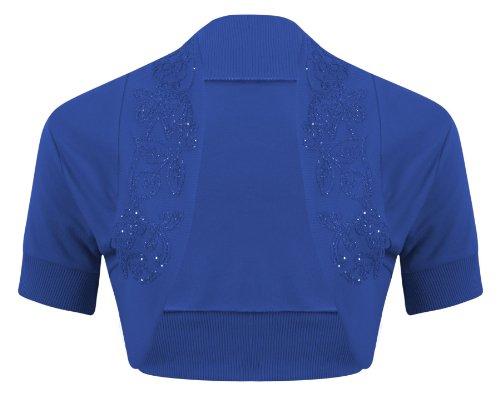 New Womens Ladies Short Sleeve Beaded Embellished Open Bolero Cardigan Shrug Top - ROYAL BLUE - UK 8/10(S/M) - (100% Cotton)