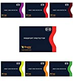 RFID Blocking Sleeves, Set with Color Coding | Identity Theft Prevention RFID Blocking Envelopes by Boxiki Travel (Navy Blue) (Set of 6 Credit Card Sleeves + 1 Passport Sleeve (Navy Blue))