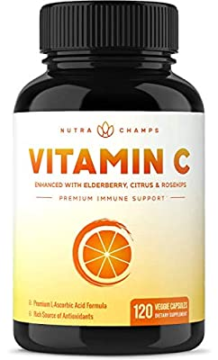 Premium Vitamin C 1000mg with Elderberry, Citrus Bioflavonoids & Rose Hips - 120 Capsules Vegan, Non-GMO Antioxidant Supplement for Immune Health & Collagen Production, 500mg Powder Pills