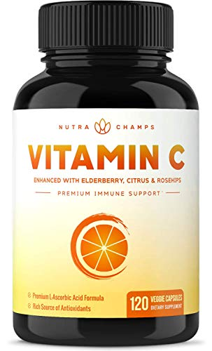 Premium Vitamin C 1000mg with Elderberry, Citrus Bioflavonoids & Rose Hips - 120 Capsules Vegan, Non-GMO Antioxidant Supplement for Immune Health & Collagen Production, 500mg Powder Pills ()