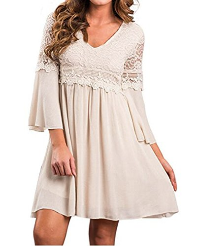 ZANZEA Women's Vintage Floral Lace V Neck 3/4 Bell Sleeve Cocktail A-line Swing Party Casual Mini Dress Beige M