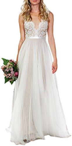 Ikerenwedding Women's V-Neck A-line Lace Tulle Long Beach Wedding Dresses for Bride