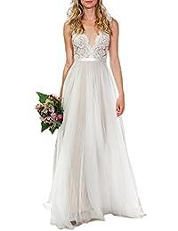 Ikerenwedding® Women's V-neck A-line Lace Tulle Long Beach Wedding Dress