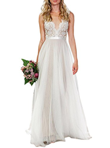 Ikerenwedding Women's V-Neck A-line Lace Tulle Long Beach Wedding Dresses for Bride Ivory US4