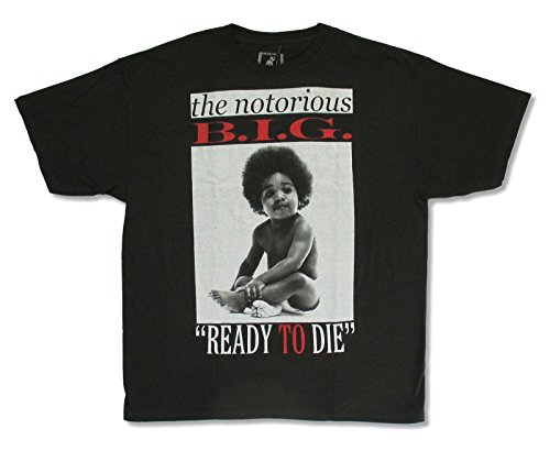 "Adult Notorious BIG ""Ready To Die"" Black Tee Shirt (XL)"