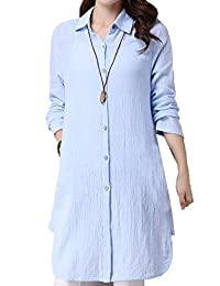 Hole Tide Women's Solid Color Cotton and Linen Long Sleeves Blouse