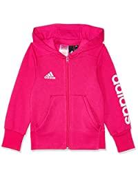Adidas Kids Girls Zip Hoodie Running Essentials Logo Training School
