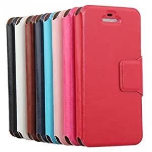 Magnetic Folio Litchi Pattern PU Leather Case Cover For iPhone 5 --- Color:Dark Blue