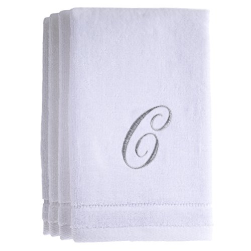 (Monogrammed Towels Fingertip, Personalized Gift, 11 x 18 Inches - Set of 4- Silver Embroidered Towel - Extra Absorbent 100% Cotton- Soft Velour Finish - For Bathroom/ Kitchen/ Spa- Initial C (White))