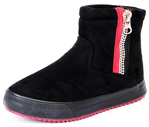 Sneakers High Anti Lined Black Ankle Short Skid Suede Zipper Snow Faux Summerwhisper Platform Fleece Side Women's Boots vWT7wgS5qz