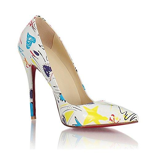 Shoes Heels Pointed Pattern Stiletto White toe Honeystore Pumps Women's Graffiti AqYxwAO8