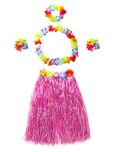 CISMARK Women's Hawaiian Grass Hula Skirt Wears Set (Pink 80cm, - Skirt Dancer