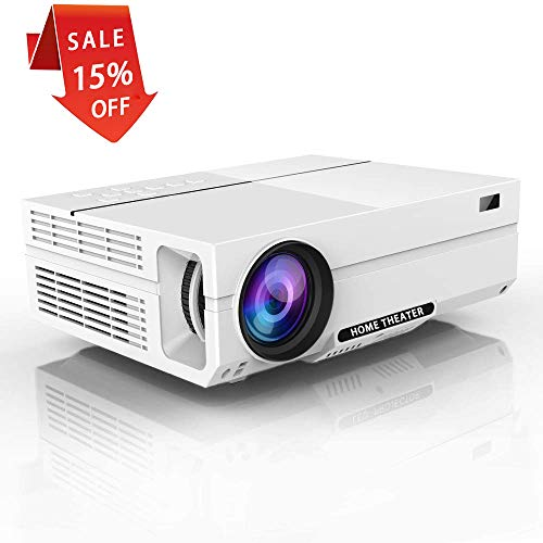 1080P Projector,Salange HD Video Projector with 1920x1080P, 5000 Lumens, 200'' Display,Dual 3W Speakers,±45 °Keystone Correction,Support HDMI VGA AV USB Ideal for Home Theater, Game