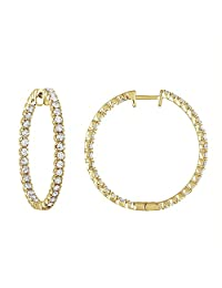 Vir Jewels 14K Yellow Gold Diamond Inside-Out Hoop Earrings (2 CT)