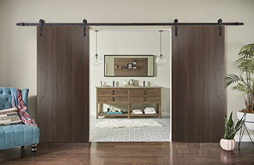 Sliding Double Barn Doors 84 x 96 inches Rails 13ft | Planum 0010 Chocolate Ash | Black Steel Tracks Hangers Set…