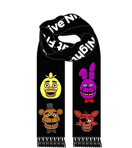 [Deluxe Five Nights at Freddy's Black Knitted Winter Scarf Chica Bonnie Foxy] (Fnaf Bonnie Costume)