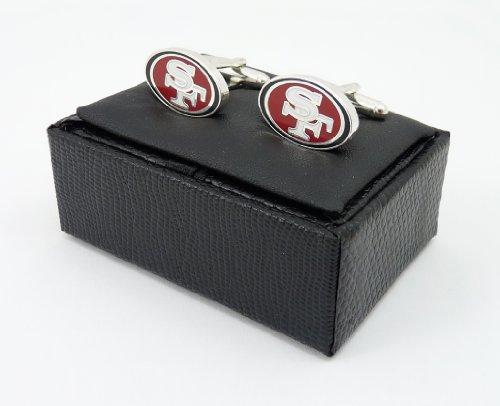 aminco NFL San Francisco 49ers Cut Out Logo Cuff Link, Silver