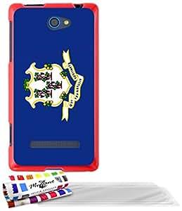 """Carcasa Flexible Ultra-Slim HTC 8S de exclusivo motivo [Connecticut Bandera] [Roja] de MUZZANO  + 3 Pelliculas de Pantalla """"UltraClear"""" + ESTILETE y PAÑO MUZZANO REGALADOS - La Protección Antigolpes ULTIMA, ELEGANTE Y DURADERA para su HTC 8S"""