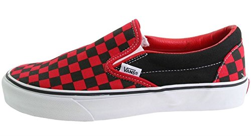 Vans Unisex Adult Checkerboard Slip-On Black/Formula One Red Check VN000EYE36M Mens 11, Womens 12.5