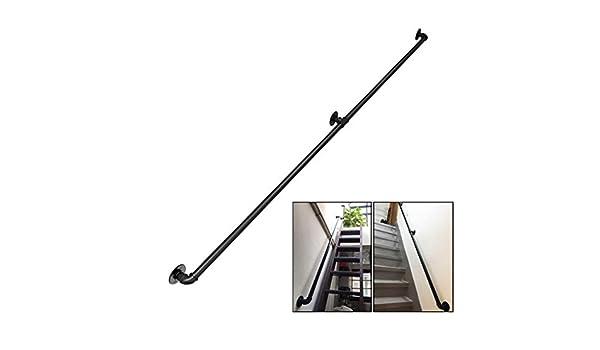 GJIF Las barandillas metálicas for los pasos al aire libre montado en la pared Negro Mate Hierro forjado, Baranda Pasamanos for Escaleras interiores directa, a escalera o restaurante (Size : 260cm): Amazon.es: