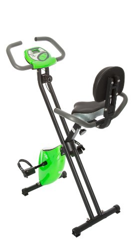 Fit Life Folding Magnetic Resistance Upright Exercise Bike with Calorie Counter Lime Green