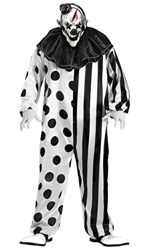 Killer Clown Adult Costume Black and White - Standard