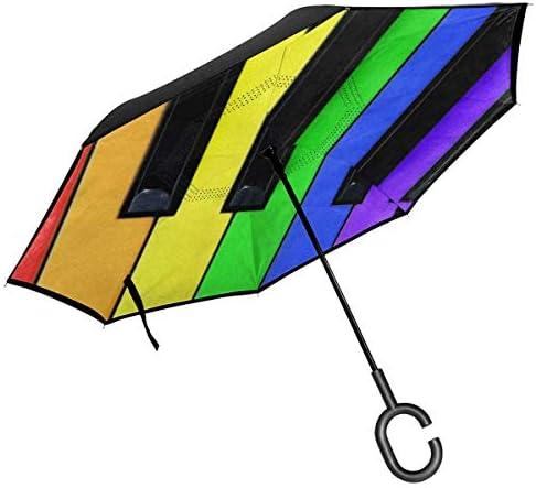 ピアノ音楽 ユニセックス二重層防水ストレート傘車逆折りたたみ傘C形ハンドル付き