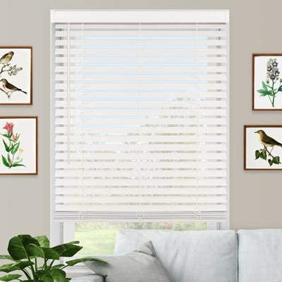 Premium Faux Wood Blind White Cordless 2-1//2 in W x 64 in L 32 in