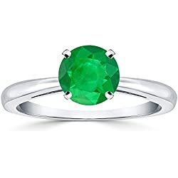 Platinum Round-Cut Green Emerald Gemstone Solitaire Engagement Ring 4 prong (1/4 cttw) Size 4-9