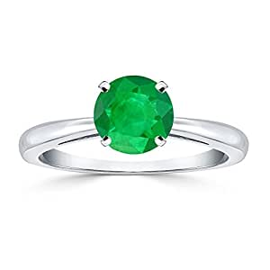 Platinum Round-Cut Green Emerald Gemstone Solitaire Engagement Ring 4 prong (1/4 cttw) Size 4