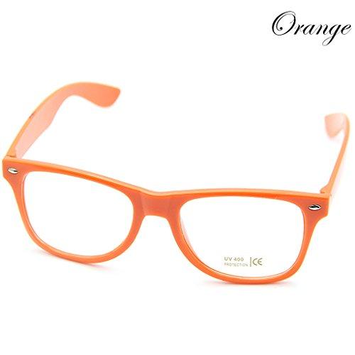 Doober Men Boy Women Girl Unisex Clear Lens Wayfarer Nerd Geek Glasses Eyewear 1pc (Orange, - Glasses Pictures Nerds Of With