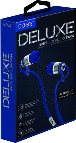 Coby CVPE-03-BLU Deluxe Tangle Free Cable Metal Stereo Earbuds with Mic, - Hands Earphone Free Coby