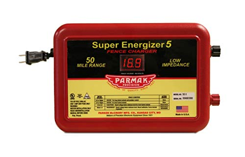 Parmak Super Energizer 5 Low Impedance 110/120 Volt 50 Mile Range Electric Fence Controller SE5 (Best Electric Fence For Cattle)