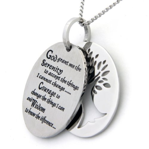 Two Piece Serenity Prayer Pendant Necklace With Tree Of Life Cut Out - Prayer Necklace - 12 Step Jewelry by Rush Industries (Image #1)