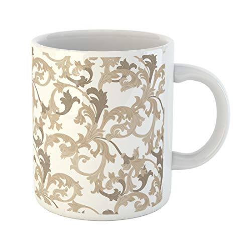 Semtomn Funny Coffee Mug Vector Damask Pattern Ornament Exquisite Baroque Template Classical Luxury Fashioned 11 Oz Ceramic Coffee Mugs Tea Cup Best Gift Or Souvenir
