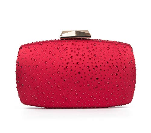 Sparkling Evening Clutch Purse Vandysi Elegant Glitter Bag Crystal Rhinestone Handbag for Dance Wedding Party Prom Bride (2, Red)