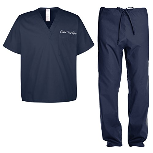 Custom Kamal Ohava Adult Uniform Medical Scrubs Set, Large, Dark Navy