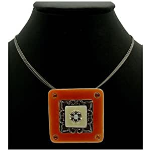 Acosta Jewellery - Orange & Ivory Enamel with Crystal Accents - Antique Silver Tone Square Disc Necklace